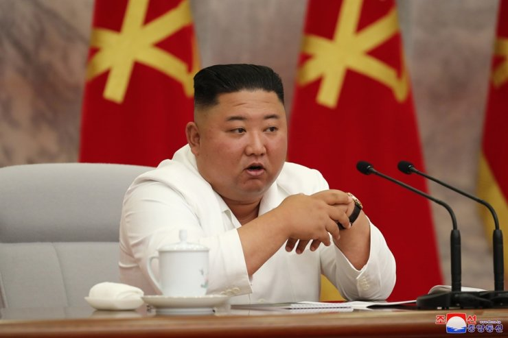North Korean leader Kim Jong-un speaks at a meeting of the ruling Workers' Party in Pyongyang, Thursday, the state-run Korean Central News Agency reported Friday. Yonhap