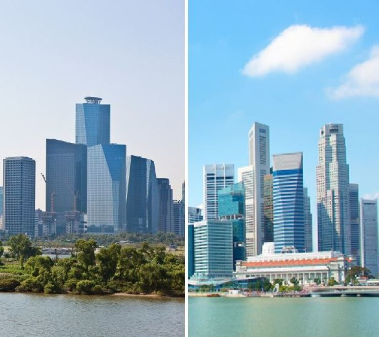 The Yeouido financial district in Seoul, left; and Singapore's Downtown Core / gettyimagesbank