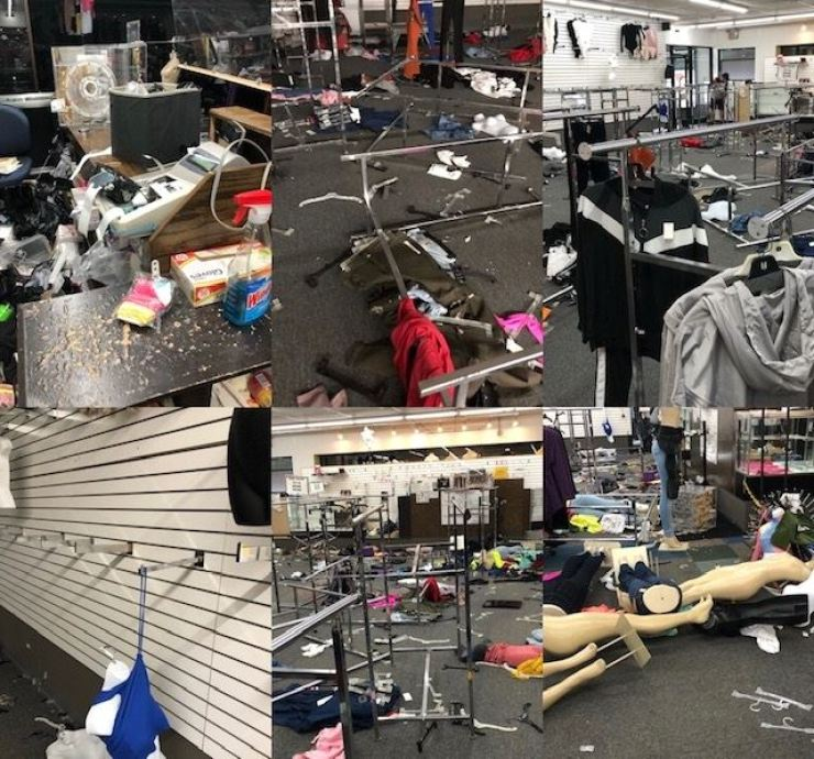 Korean American Dae-oh Yang's women's apparel store Venus Fashion in Chicago was looted on May 31 when Black Lives Matter protests swept the city. Racks are left on the floor with debris of the looting in this combination of six photos taken from different angles at the store. / Courtesy of Dae-oh Yang