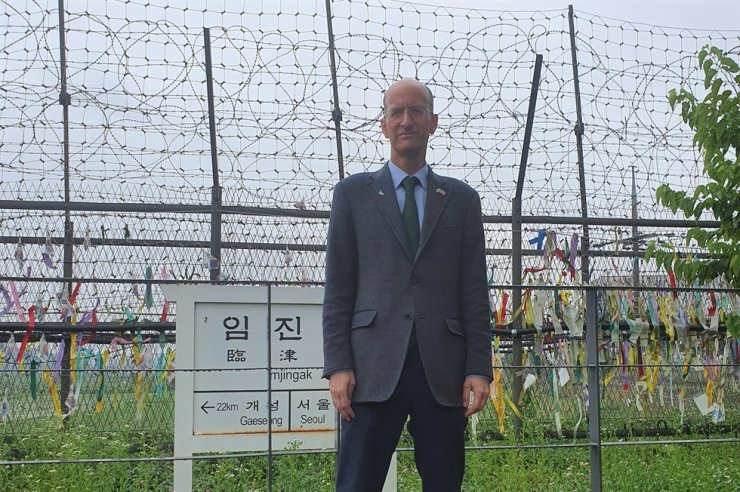 Emanuel Pastreich stands at Imjingak's Pyeonghwa-Nuri Park in Paju, Gyeonggi Province, June 25, 2020. Courtesy of Emanuel Pastreich