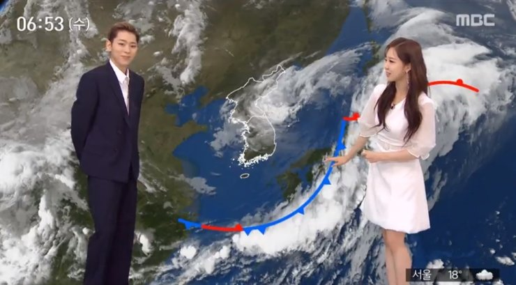 Rapper-producer Zico appeared as a weatherman on MBC, Wednesday. Capture from MBC
