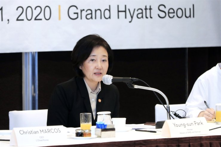 Minister of SMEs and Startups Park Young-sun speaks during her meeting with CEOs and executives of European companies in Korea at the Grand Hyatt Seoul hotel, Wednesday. Courtesy of Ministry of SMEs and Startups