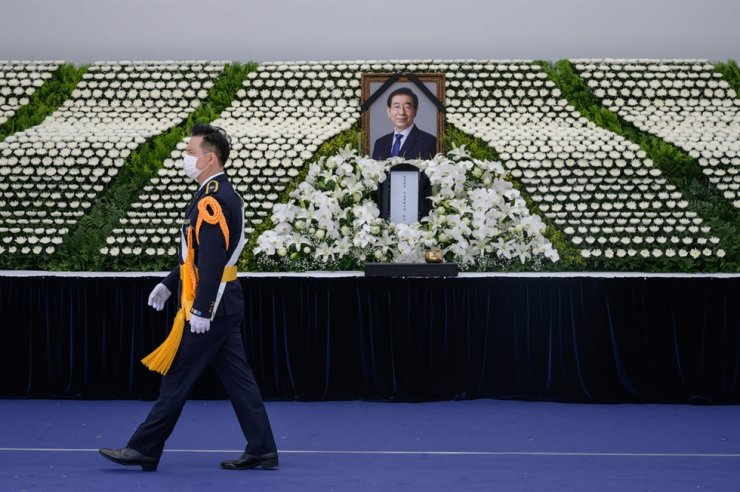 A general view of the public memorial for late Seoul mayor Park Won-soon in Seoul on July 11, 2020. AFP