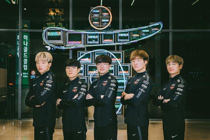 Esports company T1's 'League of Legends' team. / Courtesy of SK Telecom