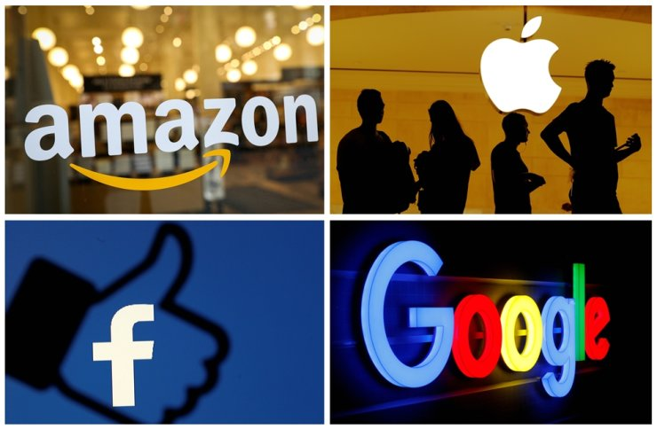 The logos of Amazon, Apple, Facebook and Google are seen in a combination photo from Reuters files. Reuters-Yonhap