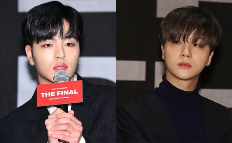 Koo Jun-hoe, left, and Kim Jin-hwan of K-pop boy band iKON. Korea Times file, Yonhap