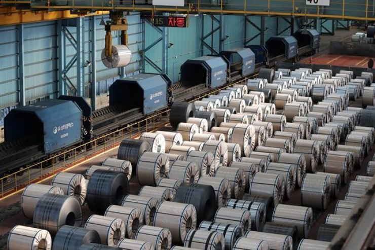 Steel products fill up POSCO's Gwangyang steel mill in Gwangyang, South Jeolla Province, as they are ready for shipping. Yonhap