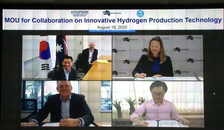 Representatives from Hyundai Motor Group, Australia's Commonwealth Scientific and Industrial Research Organization (CSIRO) and Fortescue Metals Group (FMC) sign a memorandum of understanding Thursday to jointly develop innovative hydrogen technologies. Courtesy of Hyundai Motor Group