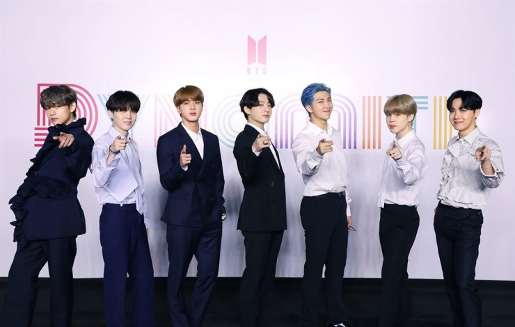 BTS members pose during a global press conference to promote their new single 'Dynamite' in Seoul, Friday. / Courtesy of Big Hit Entertainment