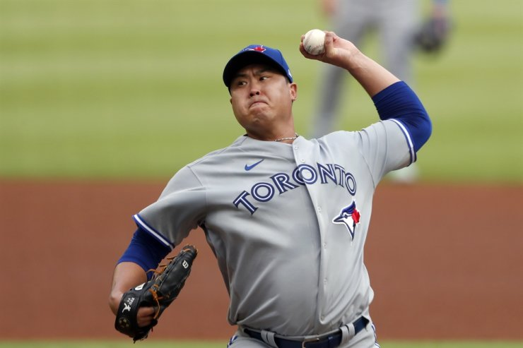 Toronto Blue Jays starting pitcher Ryu Hyun-jin of South Korea works in the first inning of a baseball game against the Atlanta Braves Wednesday in Atlanta. / AP-Yonhap