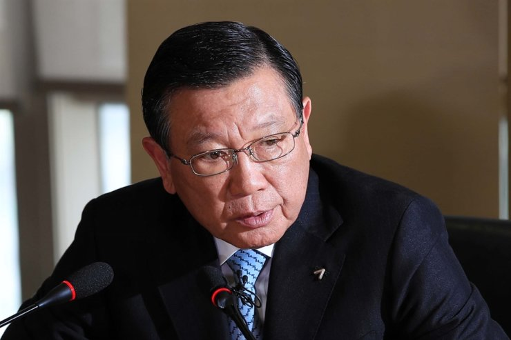 Former Kumho Asiana Group Chairman Park Sam-koo speaks during a press conference in Seoul in this July 4, 2018, photo. Yonhap