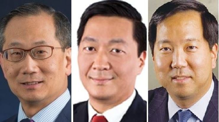 From left are Carlyle Group CEO Kewsong Lee, KKR co-President Joseph Bae and Blackstone CFO Michael Chae / Courtesy of each company