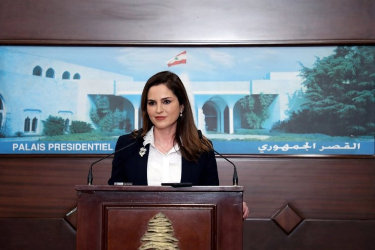 Information Minister Manal Abdel Samad attends a news conference, at the presidential palace in Baabda, Lebanon Feb. 25. REUTERS-Yonhap