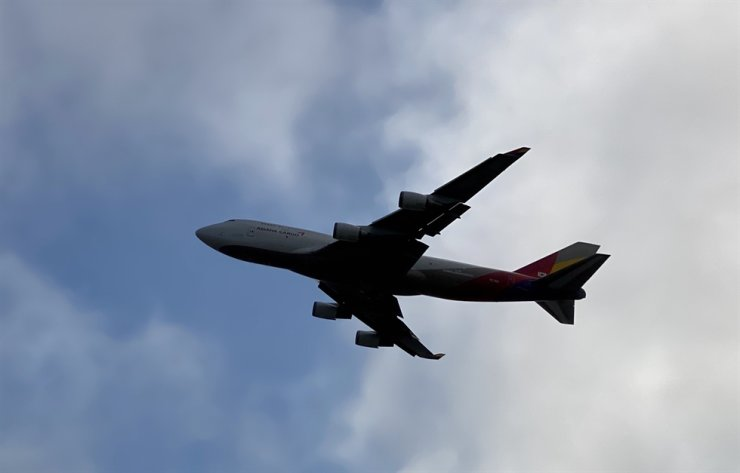 A Boeing 747 of Asiana Cargo takes off from San Francisco International Airport on Aug. 1, 2020, in San Francisco, Calif. AFP