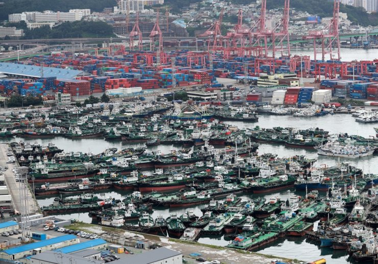 Hundreds of fishing boats take shelter at a pier in Busan Port, Monday, as Typhoon Jangmi passes over the southern parts of the Korean Peninsula to the East Sea. Yonhap
