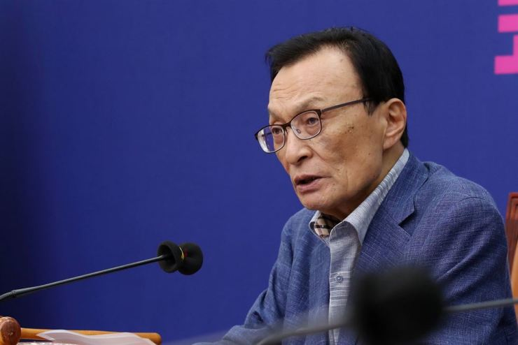 Democratic Party of Korea (DPK) Chairman Lee Hae-chan speaks during a Supreme Council meeting at the National Assembly, Aug. 19. / Yonhap