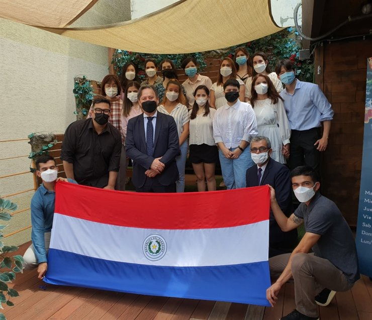 Paraguayan Ambassador to Korea Raul Silvero, third from left in the front row, poses with members of Paraguayan community here during a celebration for Friendship Day, July 31. / Courtesy of Embassy of Paraguay