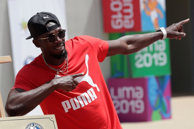 Usain Bolt visits the remodeled Atletico de la VIDENA Stadium for the 2019 Pan American Games, Peru, April 3, 2019. / Reuters-Yonhap