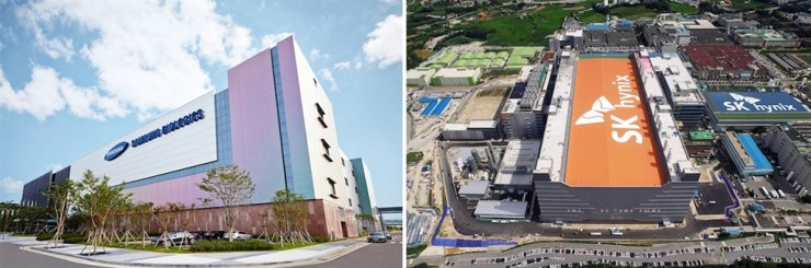 Samsung Biologics' factory in Songdo district in Incheon, left, and SK hynix' factory in Icheon, Gyeonggi Province. / Korea Times file