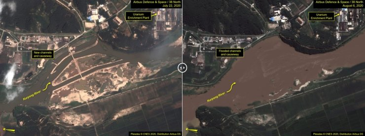 Satellite images of North Korea's Yongbyon nuclear complex next to Kuryong River. Compared to the left taken on July 22, the right taken on Aug. 6 shows the overblown river covering the land. 38 North said the flooded water might have affected operation of the complex's uranium enrichment plant on the river bank, shown in the northeast corner. 38 North-Yonhap
