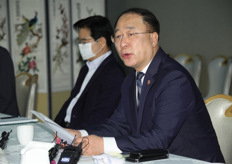 Deputy Prime Minister and Finance Minister Hong Nam-ki speaks during a meeting held to monitor irregularities in the real estate market at Seoul Government Complex in Gwanghwamun, Wednesday. Yonhap