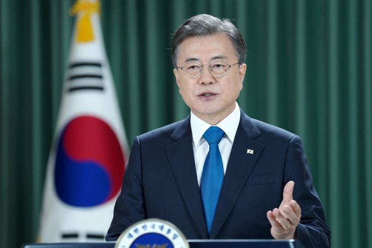 President Moon delivers a speech at the 75th United Nations General Assembly, Wednesday, Sept. 23. Yonhap