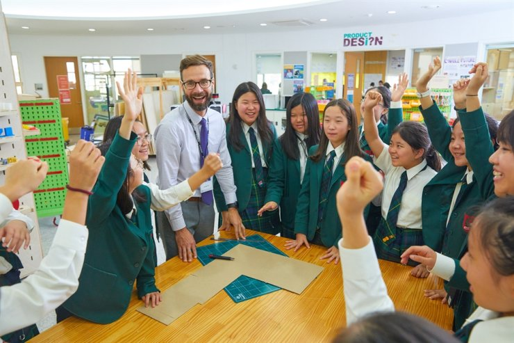 Students take part in a design technology class at Branksome Hall Asia on Jeju Island, in this October 2019 photo. Courtesy of Branksome Hall Asia