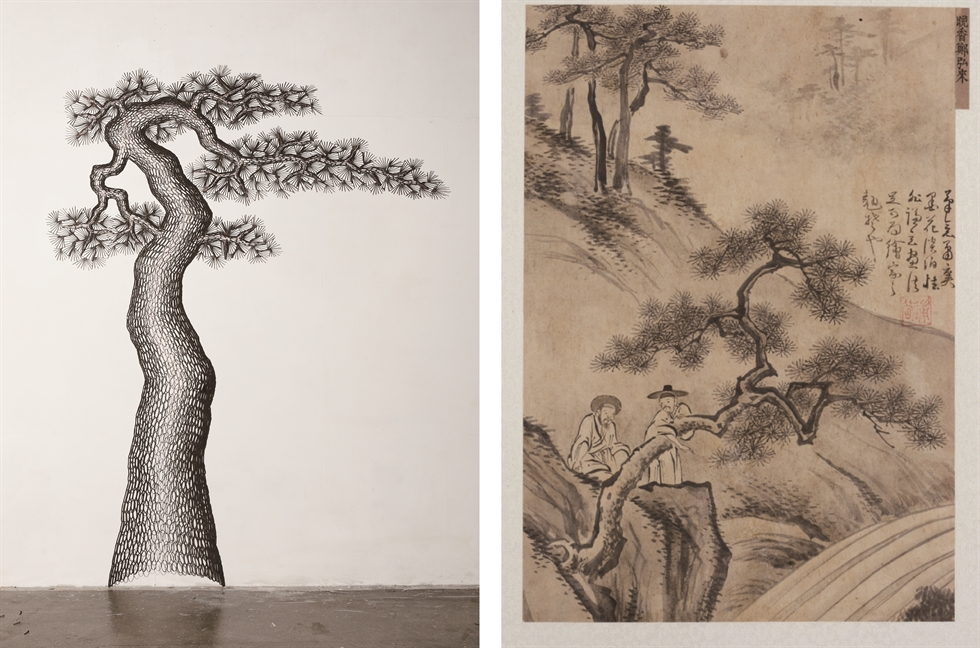 Kim Seung-young's 'Sadness,' left, inspired by Korea's National Treasure No. 83, the Pensive Bodhisattva statue. / Courtesy of Savina Museum of Contemporary Art