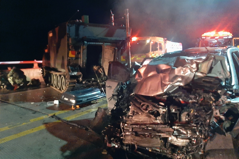 This Aug. 30, 2020, file photo provided by the Gyeonggi Northern Fire Department shows the scene of a crash between a sport utility vehicle and a U.S. military vehicle in Pocheon, Gyeonggi Province. Yonhap