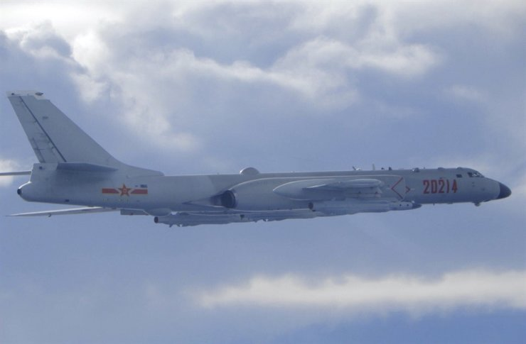 In this photo released by the Taiwan Ministry of National Defense, a Chinese People's Liberation Army H-6 bomber is seen flying near the Taiwan air defense identification zone, ADIZ, near Taiwan on Sept. 18. AP