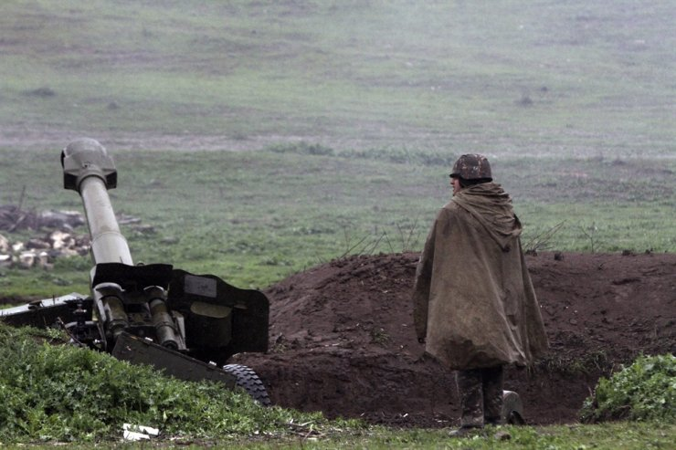 Armenian artillery position of the self-defense army of Nagorno-Karabakh in Martakert, Nagorno-Karabakh Republic, April 3, 2016. According to media reports, clashes have erupted in the territorial conflict between Armenia and Azerbaijan in Nagorno-Karabakh Republic, with both sides reporting civilian deaths after shelling, artillery and air attacks along the front. EPA