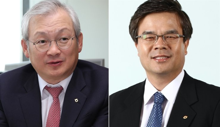 NH Investment & Securities CEO Jeong Young-chae, left, and Daishin Securities CEO Oh Ik-keun are two of the financial firm chief executives who were summoned to this year's National Assembly audit regarding the private equity fund fiascos. / Korea Times file