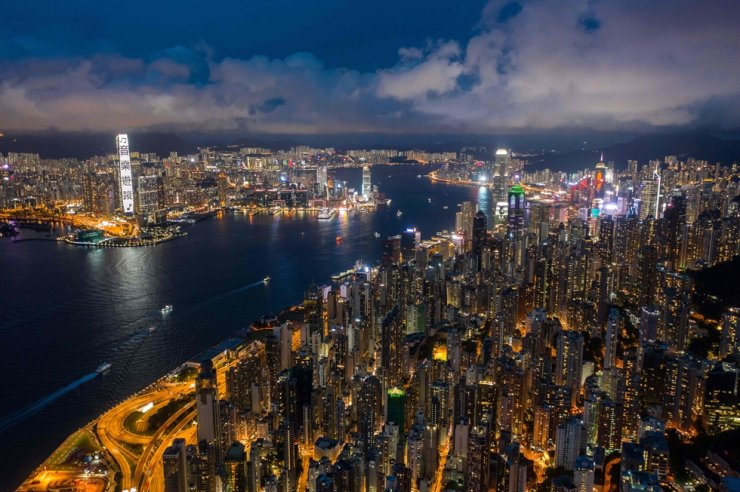 This aerial view taken on Sept. 13, 2020, shows residential and commercial buildings next to Victoria harbour in Hong Kong. AFP