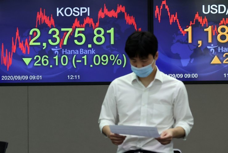 An electronic signboard in the trading room of Hana Bank in Seoul shows the benchmark KOSPI closing at 2,375.81, Wednesday, down 26.1 points or 1.09 percent from the previous session's close. / Yonhap