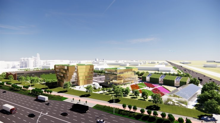 An artist's impression of a startup cluster that SK E&S plans to build in the Saemangeum area in North Jeolla Province Courtesy of SK E&S