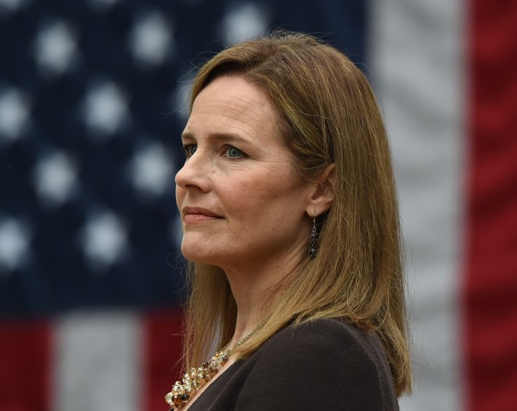 Judge Amy Coney Barrett is nominated to the US Supreme Court by President Donald Trump in the Rose Garden of the White House in Washington, DC on September 26, 2020. AFP-Yonhap