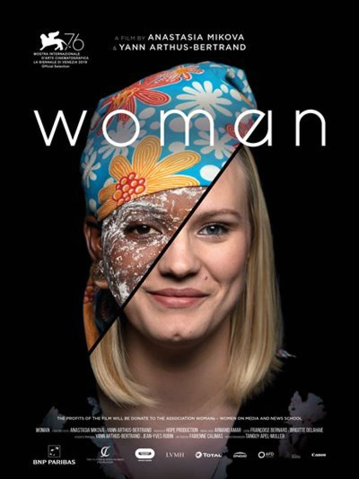 A poster of WOMAN directed by Anastasia Mikova and Yann Arthus-Bertrand. / Courtesy of BNP Paribas
