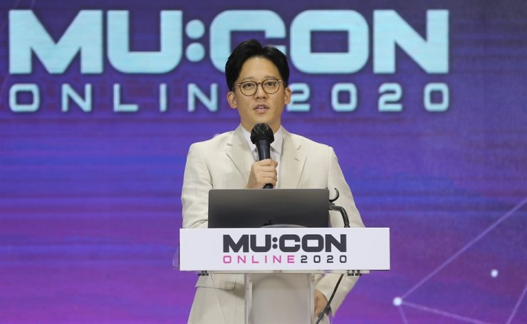 Lee Sung-su, CEO of SM Entertainment, gives a keynote speech at MU:CON Online 2020 in Seoul, Friday. Due to COVID-19, the four-day annual music market event was held online. / Yonhap
