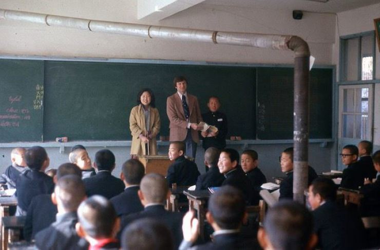 Gerry Krzic teaches at Daechang Middle School in Yecheon County, North Gyeongsang Province, in 1977. / Courtesy of Gerry Krzic