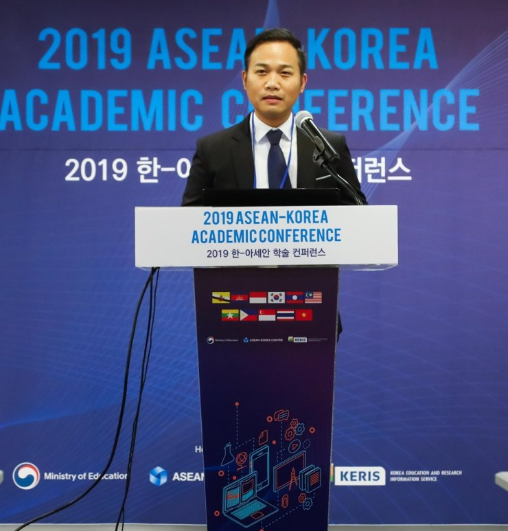 Professor Joeffrey Calimag, president of Council of ASEAN Professors in Korea (CAPK), gives a speech at the 2019 ASEAN-Korea Academic Conference in Seoul, Aug. 28, 2019. / Courtesy of ASEAN-Korea Centre