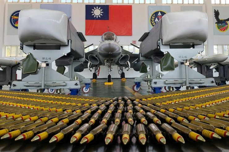 An Indigenous Defense Fighter fighter jet and Wan Chien air-to-ground cruise missiles are seen at Makung Air Force Base in Taiwan's offshore island of Penghu, Sept. 22, 2020. Reuters