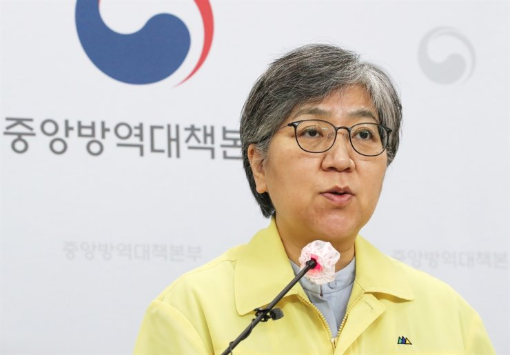 Korea Disease Control and Prevention Agency Commissioner Jeong Eun-kyeong speaks at a press briefing at its office in Cheongju, North Chungcheong Province, Friday. Yonhap