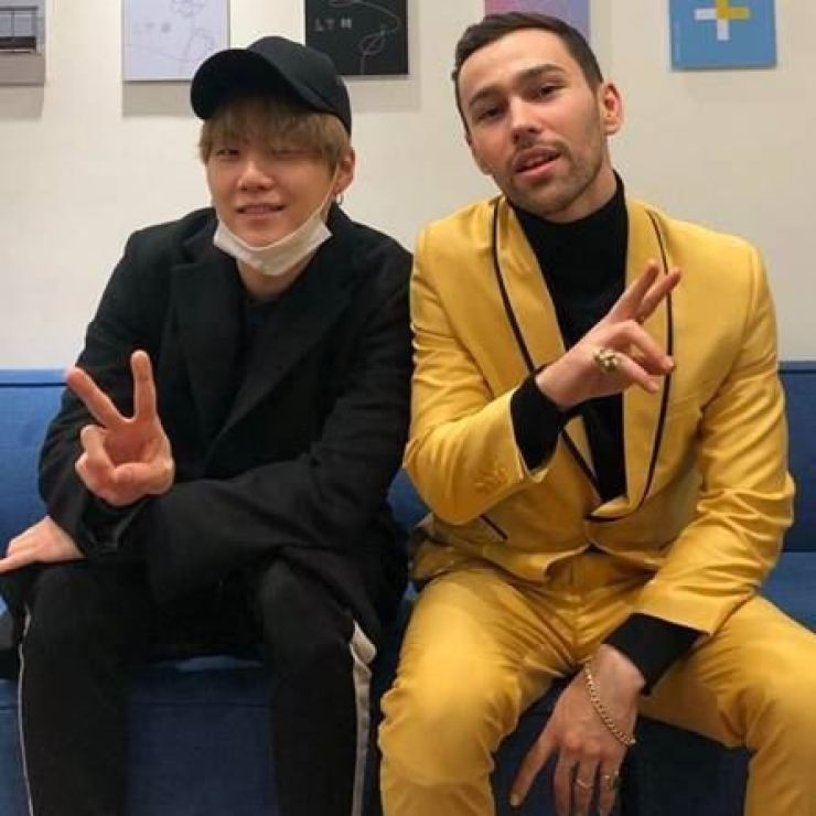 BTS's Suga and American singer-songwriter MAX. / Courtesy of Sony Music
