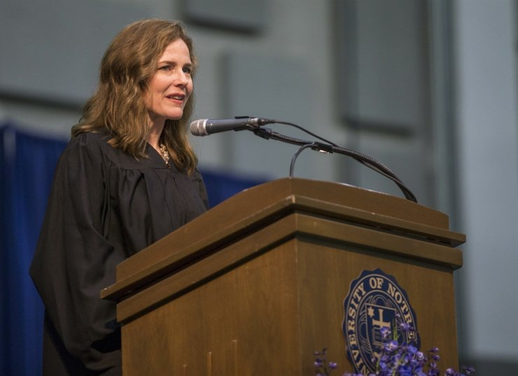 In this May 19, 2018, file photo, Amy Coney Barrett, United States Court of Appeals for the Seventh Circuit judge, speaks during the University of Notre Dame's Law School commencement ceremony at the university, in South Bend, Ind. AP
