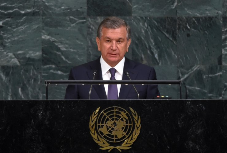 Uzbek President Shavkat Mirziyoyev addresses his first U.N. speech at the general debate of the 72nd session of the U.N. General Assembly in New York in this Sept. 17, 2017 photo. / Courtesy of Embassy of Uzbekistan