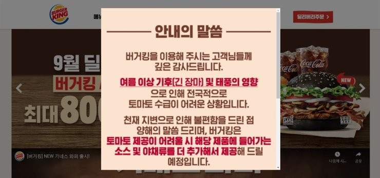 A notice on Burger King's Korean website reads that burgers will have more vegetables and sauce added to compensate for the lack of tomato slices. / Screen capture from the Burger King Korea website