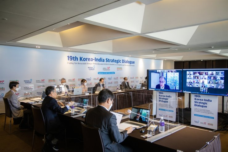 Scholars and experts from Korea and India join the 19th Korea-India Strategic Dialogue webinar, with participants from Korea attending in person at The Plaza Seoul, Wednesday. / Courtesy of Korea Foundation