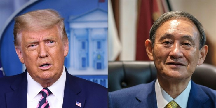 This combination of pictures created on Sept. 20, 2020, shows U.S. President Donald Trump, left, and Japan's Prime Minister Yoshihide Suga. AFP
