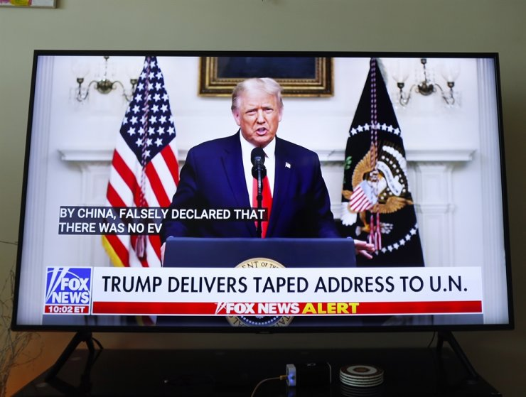 President Donald Trump delivers a taped address at the 75th General Debate of the United Nations General Assembly at United Nations Headquarters on Tuesday, September 22, 2020 in New York City. UPI-Yonhap