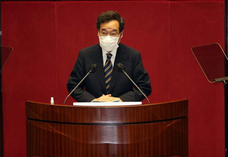 The ruling Democratic Party of Korea (DPK) Chairman Lee Nak-yon speaks at the National Assembly, Sept. 7. Yonhap